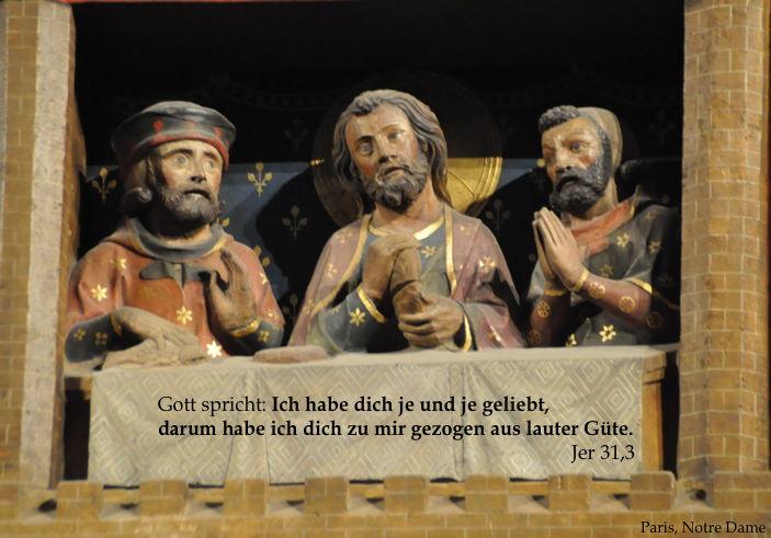 Spätmittelalterliche Schnitzkunst auf der Rückseite des Chorgestühls in Paris, Notre Dame, Emmausszene, Lukas 24, 30f.